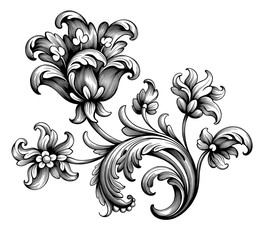 Tulip peony flower vintage Baroque Victorian frame border floral ornament leaf scroll engraved retro pattern decorative design tattoo black and white filigree calligraphic vector
