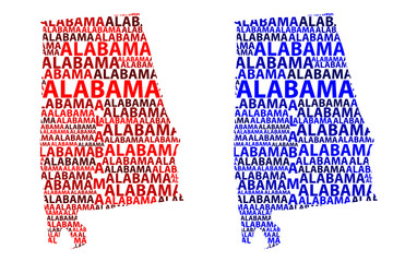 Sketch Alabama (United States of America) letter text map, Alabama map - in the shape of the continent, Map Alabama - red and blue vector illustration