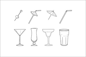 Set of hand sketched cocktail glasses and cocktail umbrella, straw and olive. Collection made for web design, menu, bar, restaurant, shop, logo, print. Each element on a separate layer. Vector.