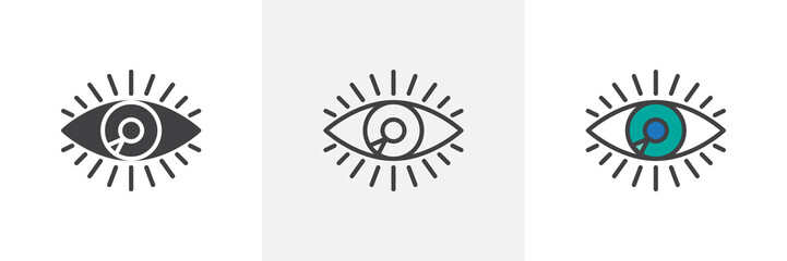 Human eye icon. Line, solid and filled outline colorful version, outline and filled vector sign. Vision symbol, logo illustration. Different style icons set. Pixel perfect vector graphics