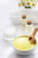 Spa accessories - sea salts, towel, oil and cream