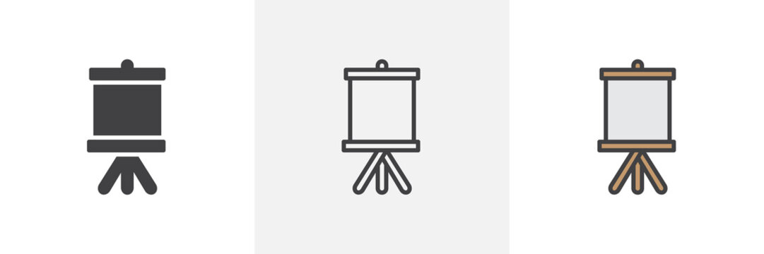 Easel with canvas icon. Line, solid and filled outline colorful version, outline and filled vector sign. Symbol, logo illustration. Different style icons set. Pixel perfect vector graphics