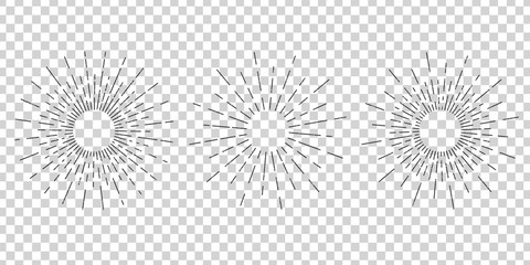 Vector isolated vintage sun rays for decoration and covering on the transparent background. Concept of sunburst and retro design.
