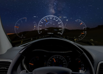 night car ride by car equipped with Head-up display