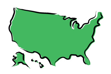 Stylized green sketch map of USA