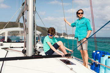 Family on board of sailing yacht