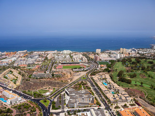 Aerial view of the south side of the Tenerife Island, including playa de las americas