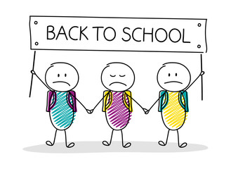 Back to school - concept with hand drawn stickman. Vector.