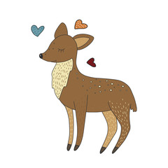 Cute little baby deer. Cartoon hand drawn card. Bambi vector illustration.