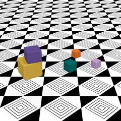 Bunte Würfel auf abstrakt gemustertem Boden. 3d render