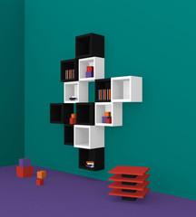 Modernes Wohnen: Regal aus Würfeln in schwarz weiß auf grünem Hintergrund aus Seitenansicht. 3d render