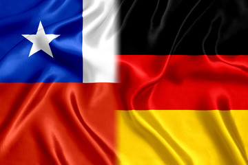 Chile and Germany flag silk
