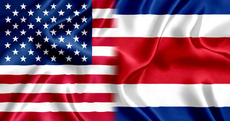 Costa Rica and US Flag Silk