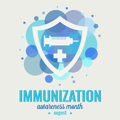 Immunization awareness month card or background. vector illustration.