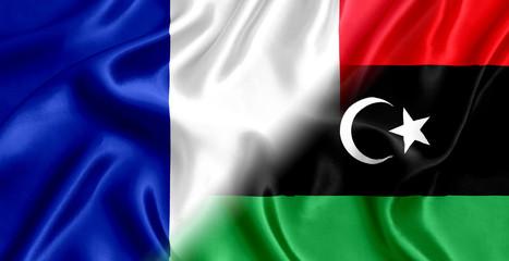 France and Libya flag silk