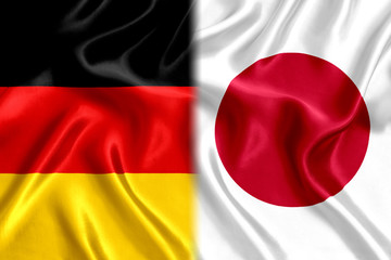 Germany and Japan flag silk