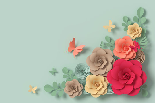 Flower paper style, colorful rose, paper craft floral, Butterfly paper fly, 3d rendering, with clipping path.