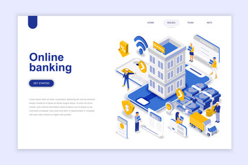 Online banking modern flat design isometric concept. Electronic bank and people concept. Landing page template. Conceptual isometric vector illustration for web and graphic design. - fototapety na wymiar