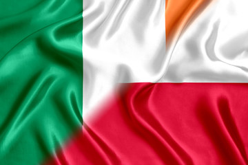 Poland and Ireland flag silk