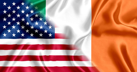 USA and Ireland flag silk
