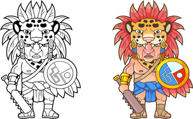 cartoon funny Aztec warrior, design coloring book