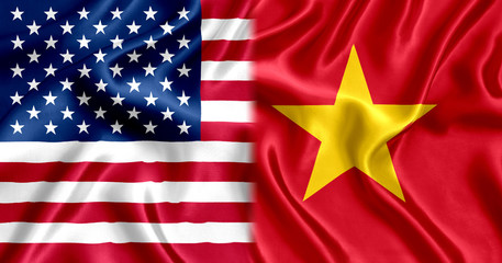 Vietnam and the USA flag silk