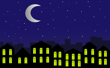 City at night. Bright moon and stars in the sky. Illustration.