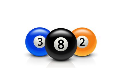 three billiard balls with reflection