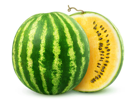 Yellow watermelon cut in halves isolated on white background with clipping path