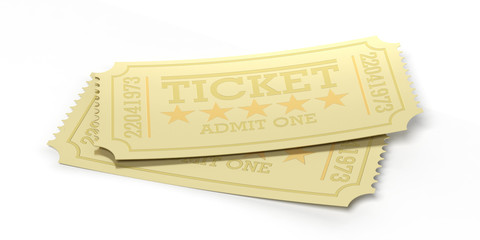 Cinema old type golden tickets isolated recycle on a white background, 3d illustration.
