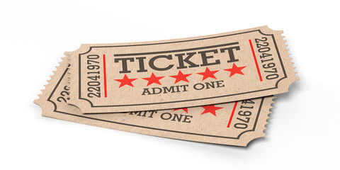 Cinema old type tickets beige isolated recycle on a white background, 3d illustration.