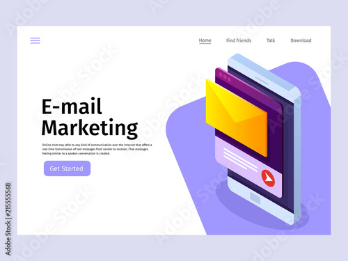 Mobile email notification concept  Email marketing  Landing