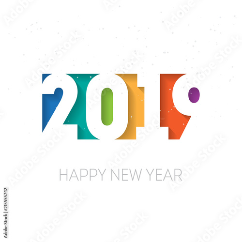 Happy New Year 2019 Vector Background Vector Greeting Card Design