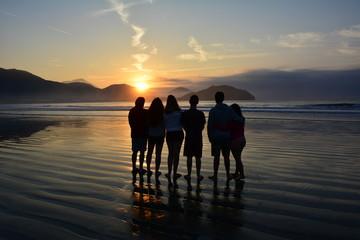 Silhouette people in Ubatuba Brazil