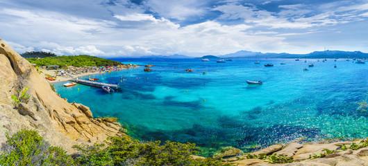 Wall Mural - Spiaggia del Pirata Capriccioli, amazing beach of Emerald coast, east Sardinia island, Italy