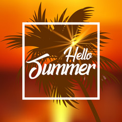 Summer sales background with palm tree leaves. Vector