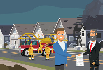 Property Insurance in Case of Fire Vector Concept