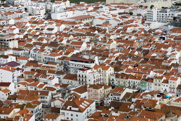 the roofs of buildings in the Portuguese resort of Nazare as seen from the viewpoint