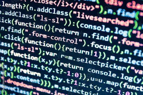 Abstract computer script code  Computer script typing work