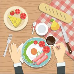 The quest of the restaurant is having breakfast. Vector illustration