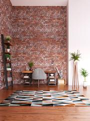 Home office design, modern workspace room, 3d render