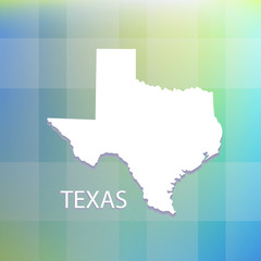 Texas state flat map on blue logo background vector icon