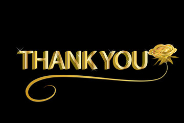 Thank you card in gold design
