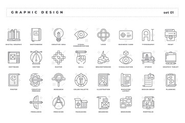 Graphic design. Set of pixel-perfect icons. Thin line style. Variety of unique and creative visual metaphors suitable for wide range of uses. .