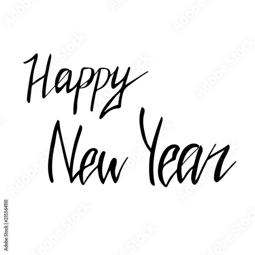 happy new year hand written lettering in black colour on white background vector illustration eps10