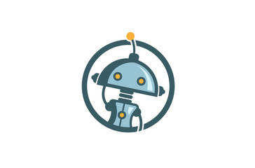 Creative Cute Robot Circle Logo Design Illustration