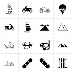 Set of 16 extreme filled and outline icons