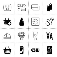 Set of 16 plastic filled and outline icons
