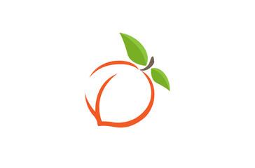 Peach Orange Logo Design Illustration