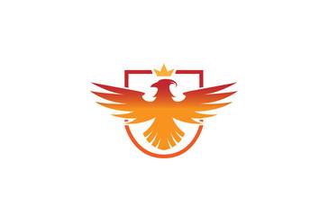 Creative Phoenix Bird Shield Logo Design Illustration